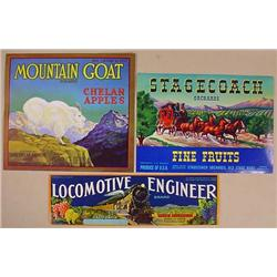 LOT OF 3 VINTAGE FRUIT LABELS - Mountain Goat, Sta