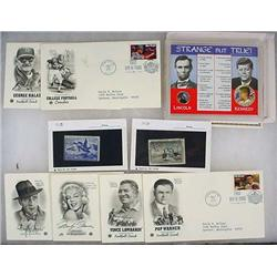LOT OF VINTAGE 1ST DAY COVERS, STAMPS AND COINS -