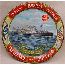 EARLY C AND B LINE SHIP ADVERTISING TIP TRAY - Cle