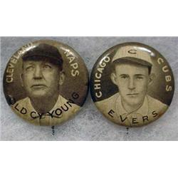 LOT OF 2 EARLY BASEBALL CELLULOID PINBACK BUTTONS