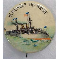 1898 REMEMBER THE MAINE CELLULOID PINBACK BUTTON