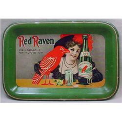 VINTAGE RED RAVEN APERIENT WATER ADVERTISING TIP T