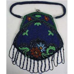 VINTAGE BEADED PURSE W/ CLASP HANDLE AND SILK LINI