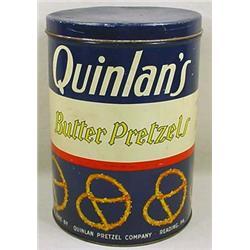 VINTAGE QUINLAN'S BUTTER PRETZELS ADVERTISING TIN