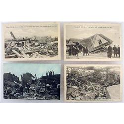 LOT OF 4 C. 1917 RPPC REAL PHOTO POSTCARDS OF TORN