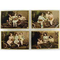 LOT OF 4 1908 PHOTO POSTCARDS - LITTLE GIRLS - GER