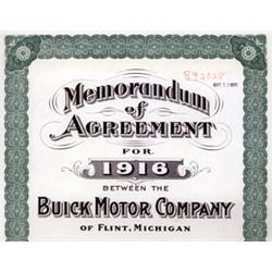 Buick Motor Company Sales Contract Specimen From 1916.