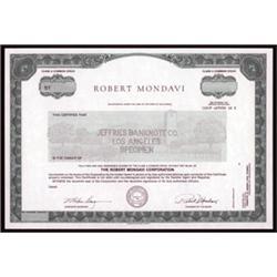 Robert Mondavi Specimen Stock Certificate.