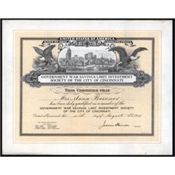Liberty Loan Related Certificate for War Savings in Cincinnati.
