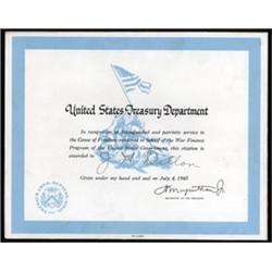United States Treasury Department Certificate.