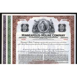 "Minneapolis-Moline Co. Specimen Bonds With ""Reaper"" Vignettes."