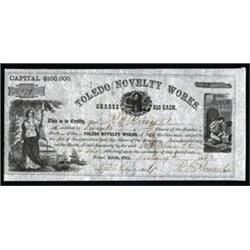 Toledo Novelty Works Stock Certificate.