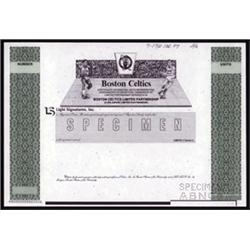 Boston Celtics Specimen Limited Partnership Interest Certificate.