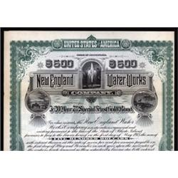 New England Water Works Co. Specimen Bond.
