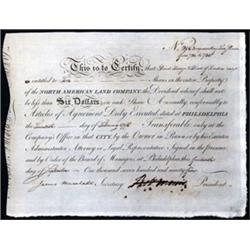 "North American Land Company Signed by Robert ""Bob"" Morris.."