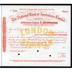 National Bank of Australasia, Limited Specimen Stock.