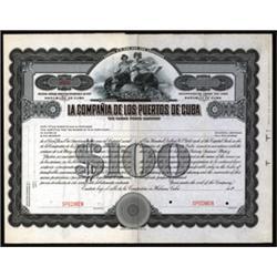 La Compania De Los Puertos De Cuba, Specimen Bond.