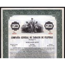 Compania General De Tobacos De Filipinas Specimen Bond.