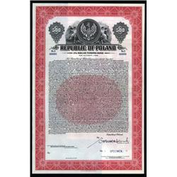 Republic of Poland - Dollar Funding Specimen Bond.