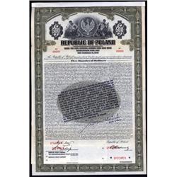 Republic of Poland - Stabilization Loan, Specimen 1927 Gold Bond With Legend.
