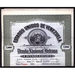 Estados Unidos de Venezuela Deuda Nacional Interna