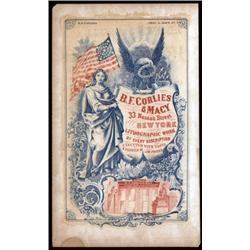 B.F.Corlies & Macy Printer Advertising Sheet.