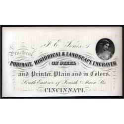 F.E.Jones, Practical Engraver on Steel Advertising Sheet.