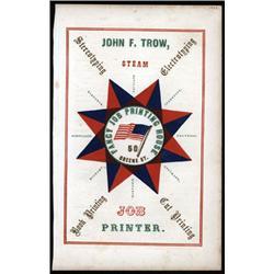 "John F.Trow Civil War Era Patriotic ""Fancy Job Printing"" Advertisement."