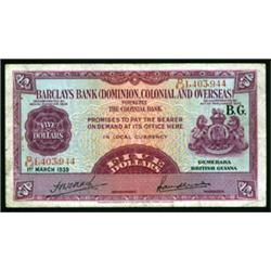 Barclays Bank (Dominion, Colonial and Overseas), 1937 Issue.