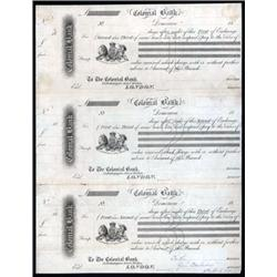 Colonial Bank Proof Exchange Drafts, Uncut Sheet of 3.
