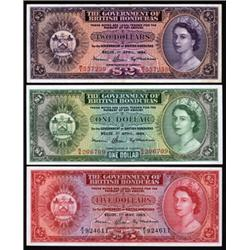 Government of British Honduras Banknote Trio.