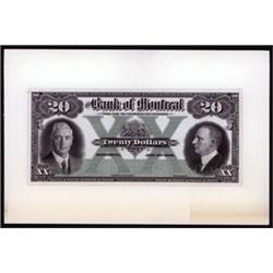 Bank of Montreal, 1931 Issue Banknote Proof.
