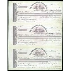 National Bank of Australasia Proof Sheet of 3 Exchanges.