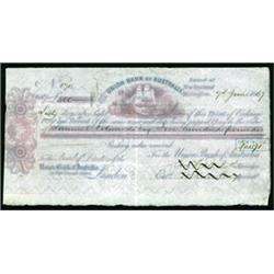 Union Bank of Australia, Wellington, New Zealand Branch Bill of Exchange.