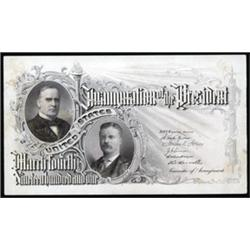 William McKinley and Theodore Roosevelt Inauguration Ticket By BEP.