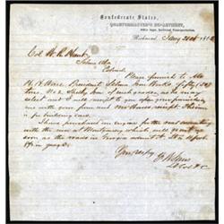 Confederate States, Quartermaster's Department, Office Supt. Railroad Transportation, Correspondence