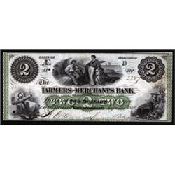 "Maryland. Farmers and Merchants Bank ""Spelling Error"" Obsolete Banknote."