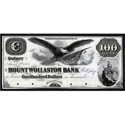 Massachusetts. Mount Wollaston Bank Obsolete Proof Note.