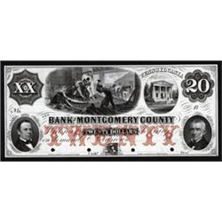 Pennsylvania. Bank of Montgomery County Obsolete Proof Note.