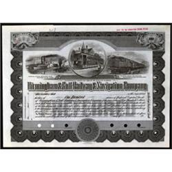 Birmingham & Gulf Railway & Navigation Co. Specimen.