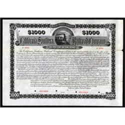 California Southern Railroad Co. Specimen Bond.