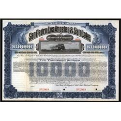 San Pedro, Los Angeles and Salt Lake Railroad Co. Specimen Bond.