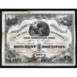 Michigan Soldiers Monument Association Certificate.