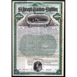 St.Joseph Traction and Lighting Co. Specimen Bond.