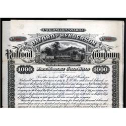 Oxford and Henderson Railroad Company Specimen Bond.