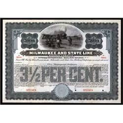 Milwaukee and State Line Railway Co. Specimen Bond.