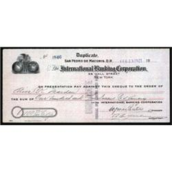 International Banking Corporation, Check Issued in the Dominican Republic.