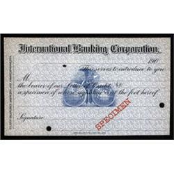 International Banking Corporation, Specimen Letter of Credit ID Card Pair.