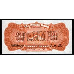 Tah Chung Bank, 1921 First Issue Specimen.