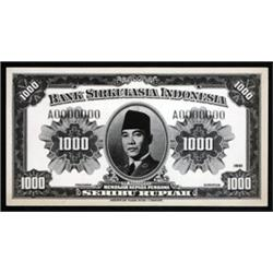 Bank Sirkulasia Indonesia Essay Photo Proofs by ABNC For Proposed 1951 Issue.